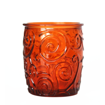 Wasserglas / Saftglas, Ornamente, orange, Recyclingglas