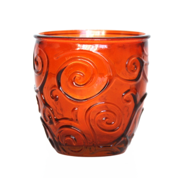Weinglas / Glasbecher, Ornamente, orange, Recyclingglas