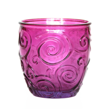 Weinglas / Glasbecher, Ornamente, fuchsia, Recyclingglas
